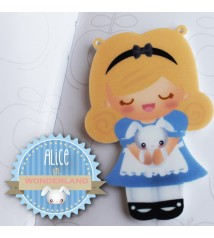 Alice in wonderland - acrylic charm and pin/magnet