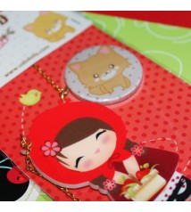 Red riding hood - acrylic charm and pin/magnet